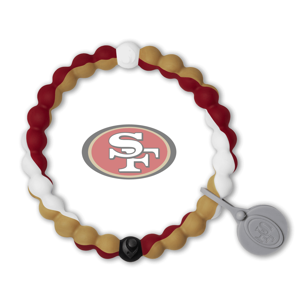 Red, gold and white silicone beaded bracelet with San Francisco 49ers team logo in the center.