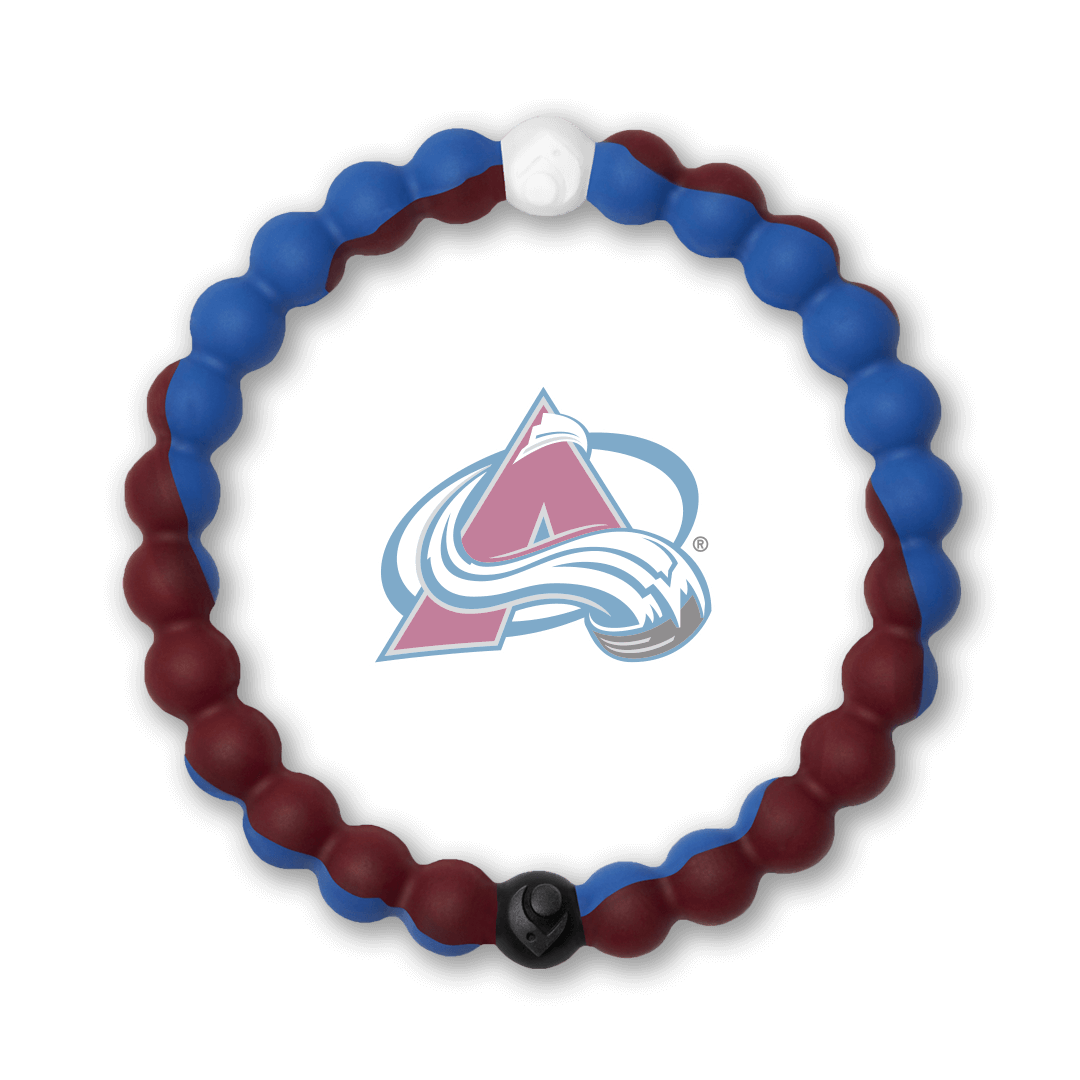 Burgundy and blue silicone beaded bracelet with Colorado Avalanche team logo in the center.