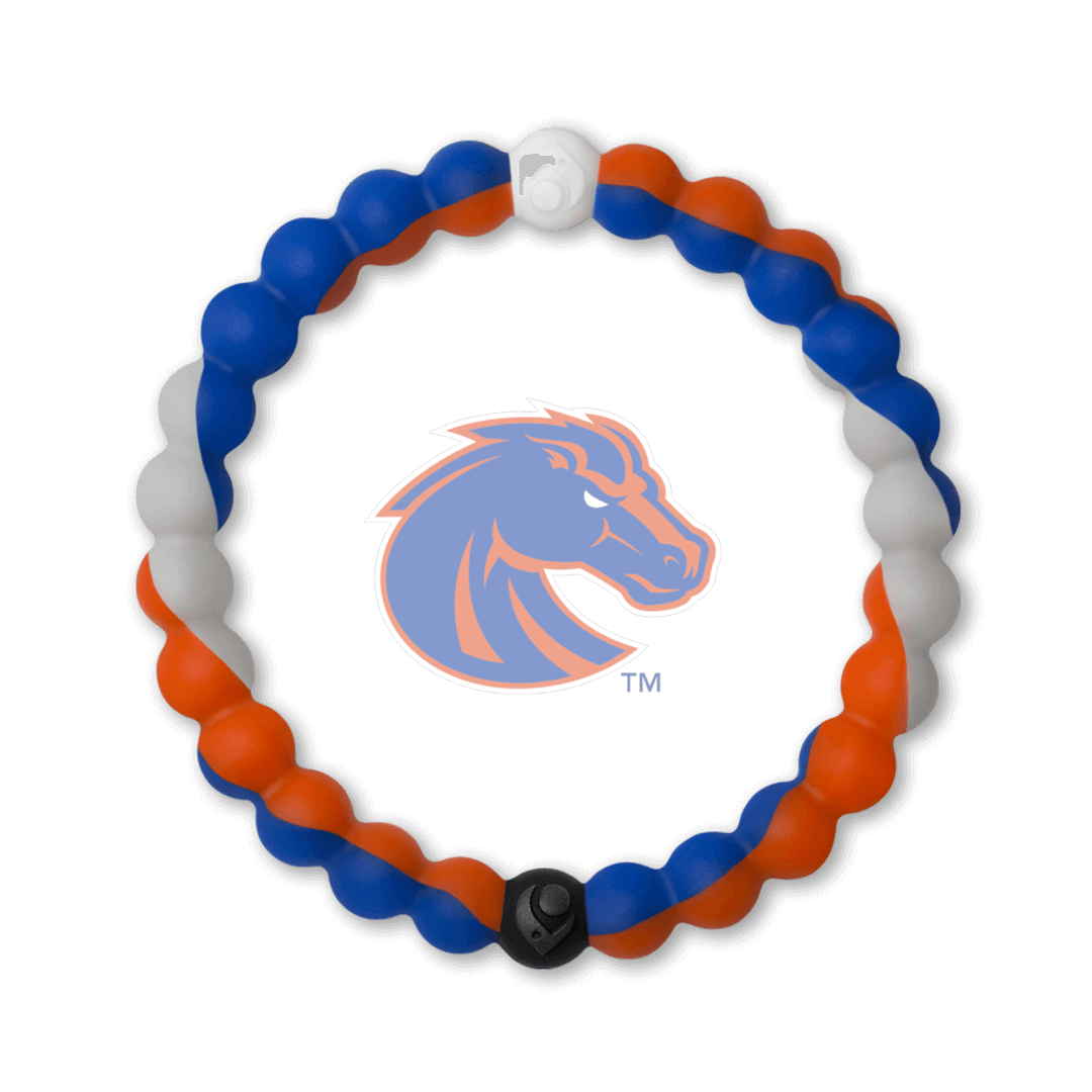 Orange, grey and blue silicone beaded bracelet with the Boise State University logo in the center.