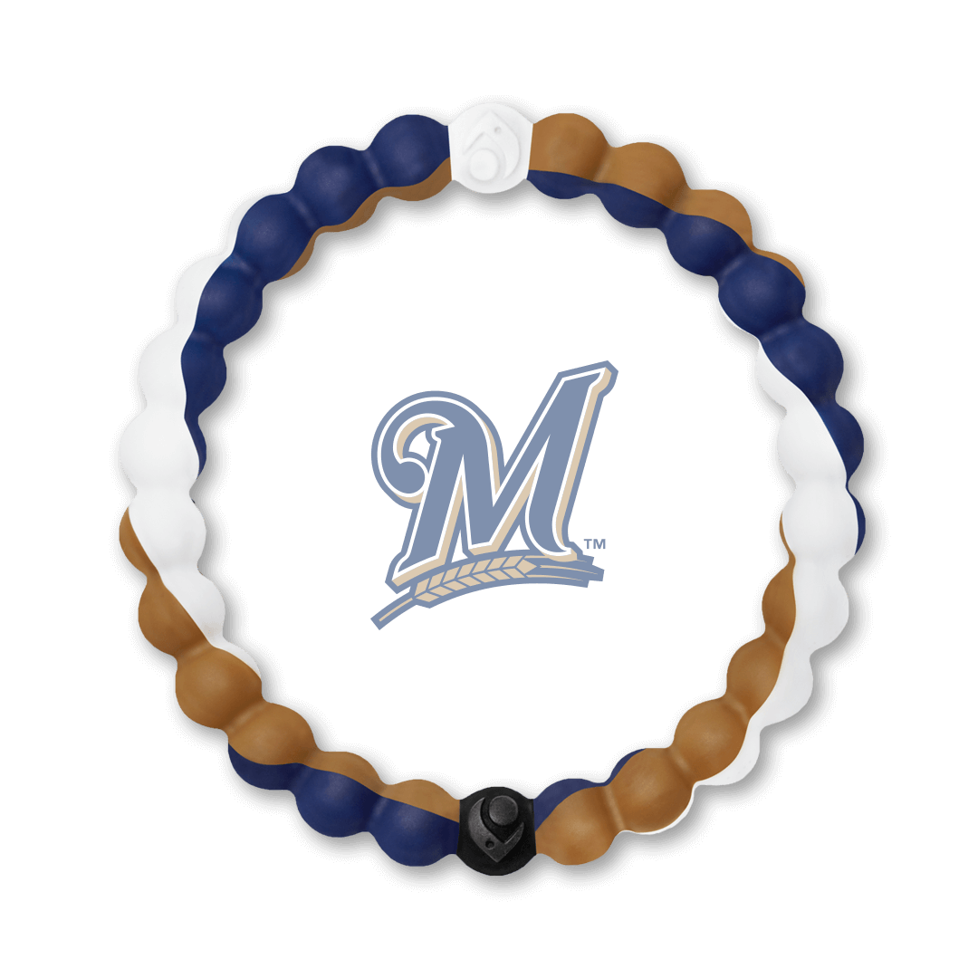 Blue, white and tan silicone beaded bracelet with Milwaukee Brewers team logo in the center.
