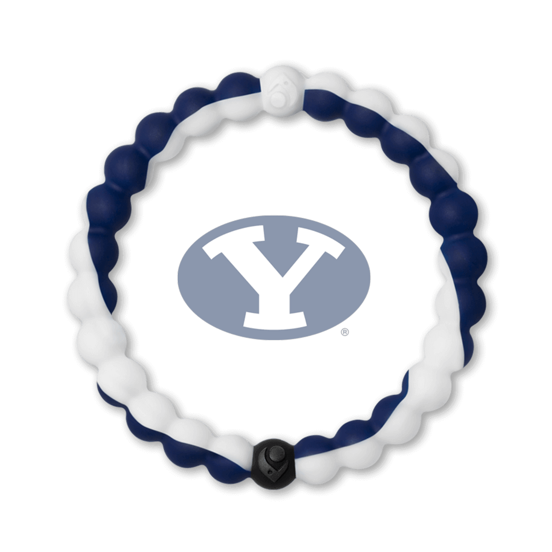 Navy blue and white silicone beaded bracelet with the Brigham Young logo in the center.