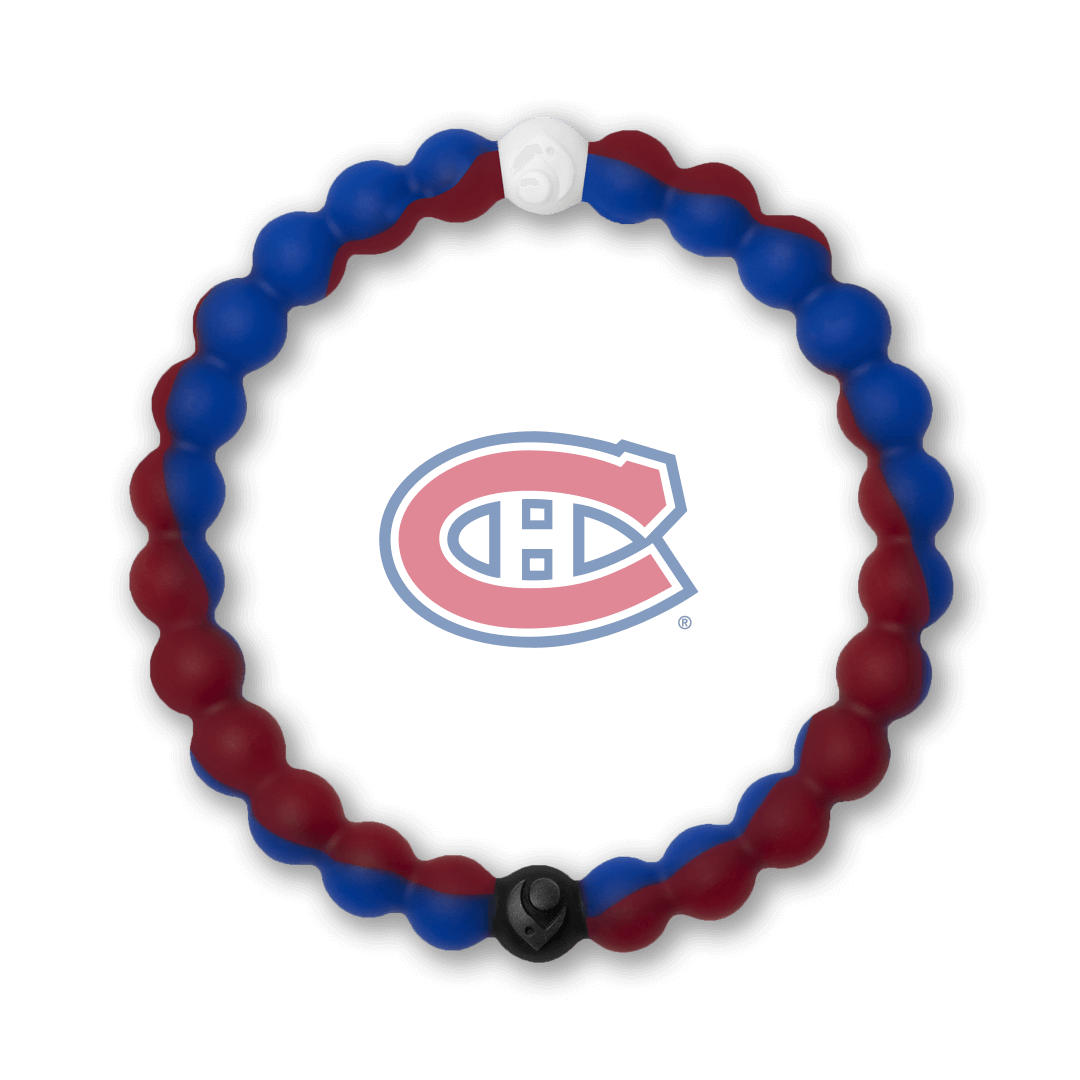 Burgundy and blue silicone beaded bracelet with Montreal Canadiens team logo in the center.