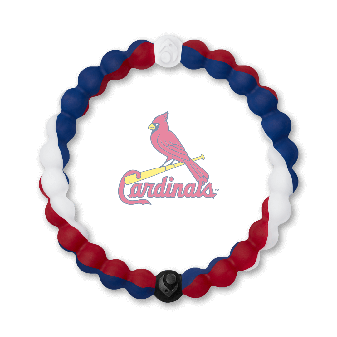 Red, white and navy blue silicone beaded bracelet with St. Louis Carindals team logo in the center.