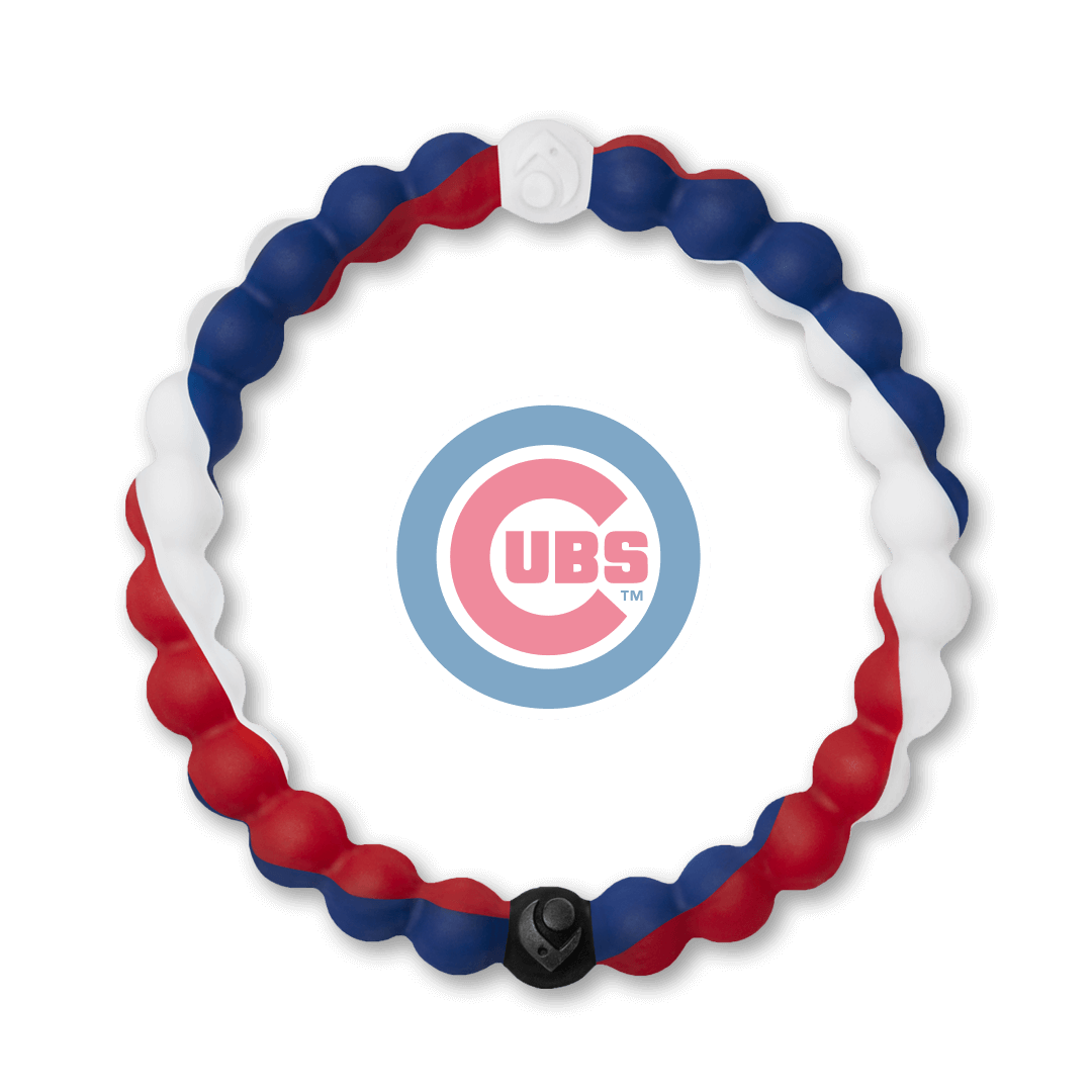 Blue, white and red silicone beaded bracelet with Chicago Cubs team logo in the center.