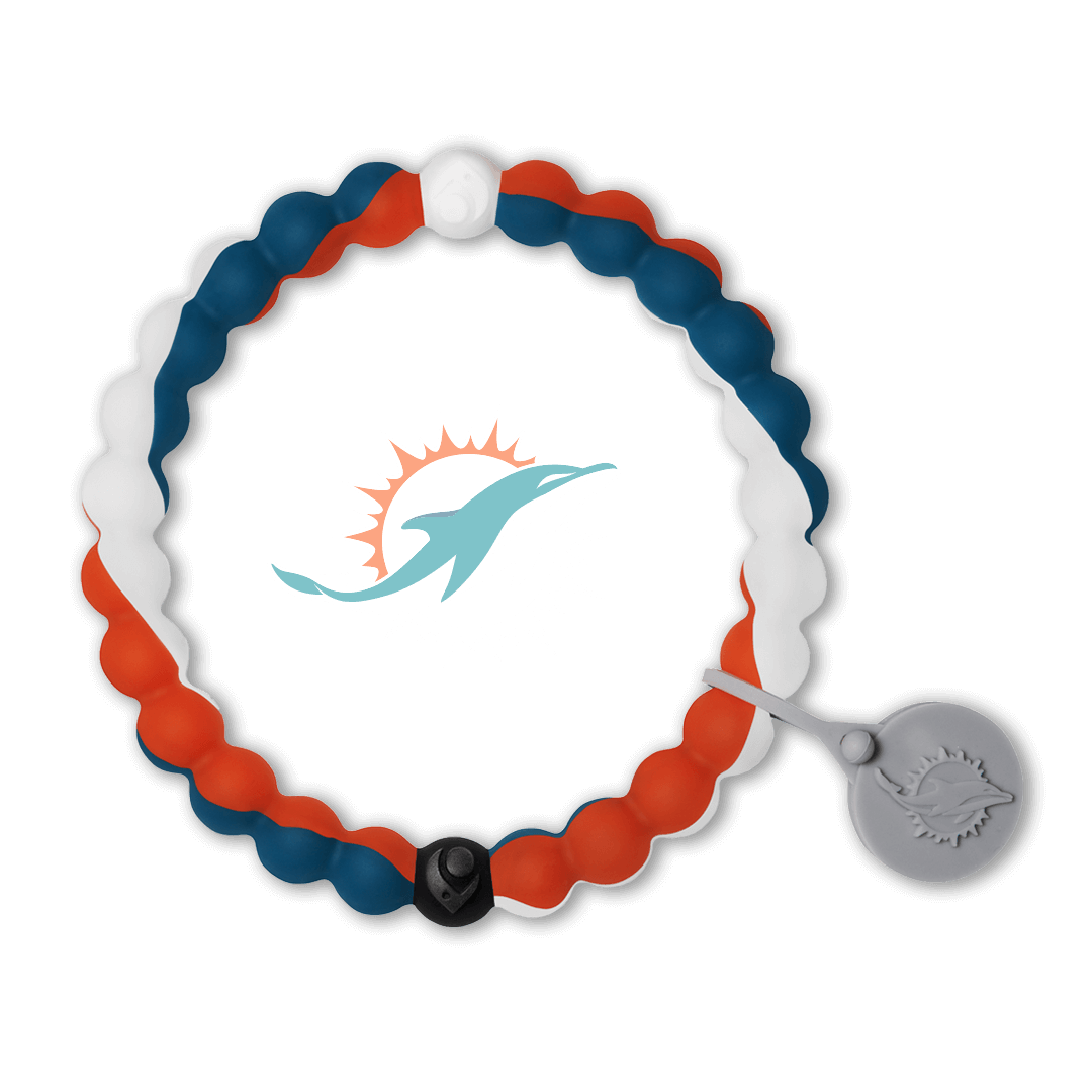 Aqua, orange and navy blue silicone beaded bracelet with Miami Dolphins team logo in the center.