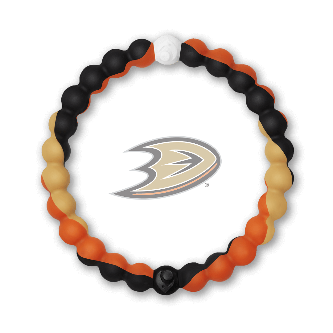 Black, gold and orange silicone beaded bracelet with Anaheim Ducks team logo in the center.
