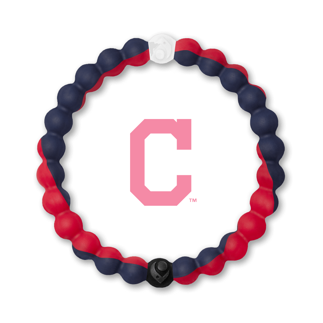 Red and navy blue silicone beaded bracelet with Cleveland Indians team logo in the center.