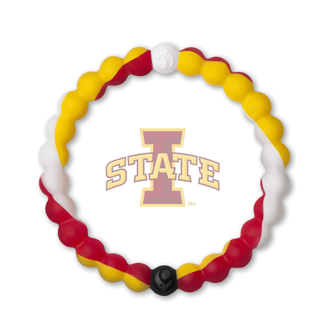 Red, yellow and white silicone beaded bracelet with the Iowa State University logo in the center.