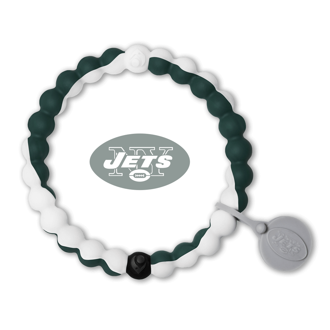 Green and white silicone beaded bracelet with New York Jets team logo in the center.