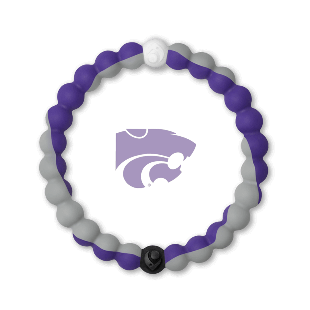 Gray and purple silicone beaded bracelet with the Kansas State University logo in the center.