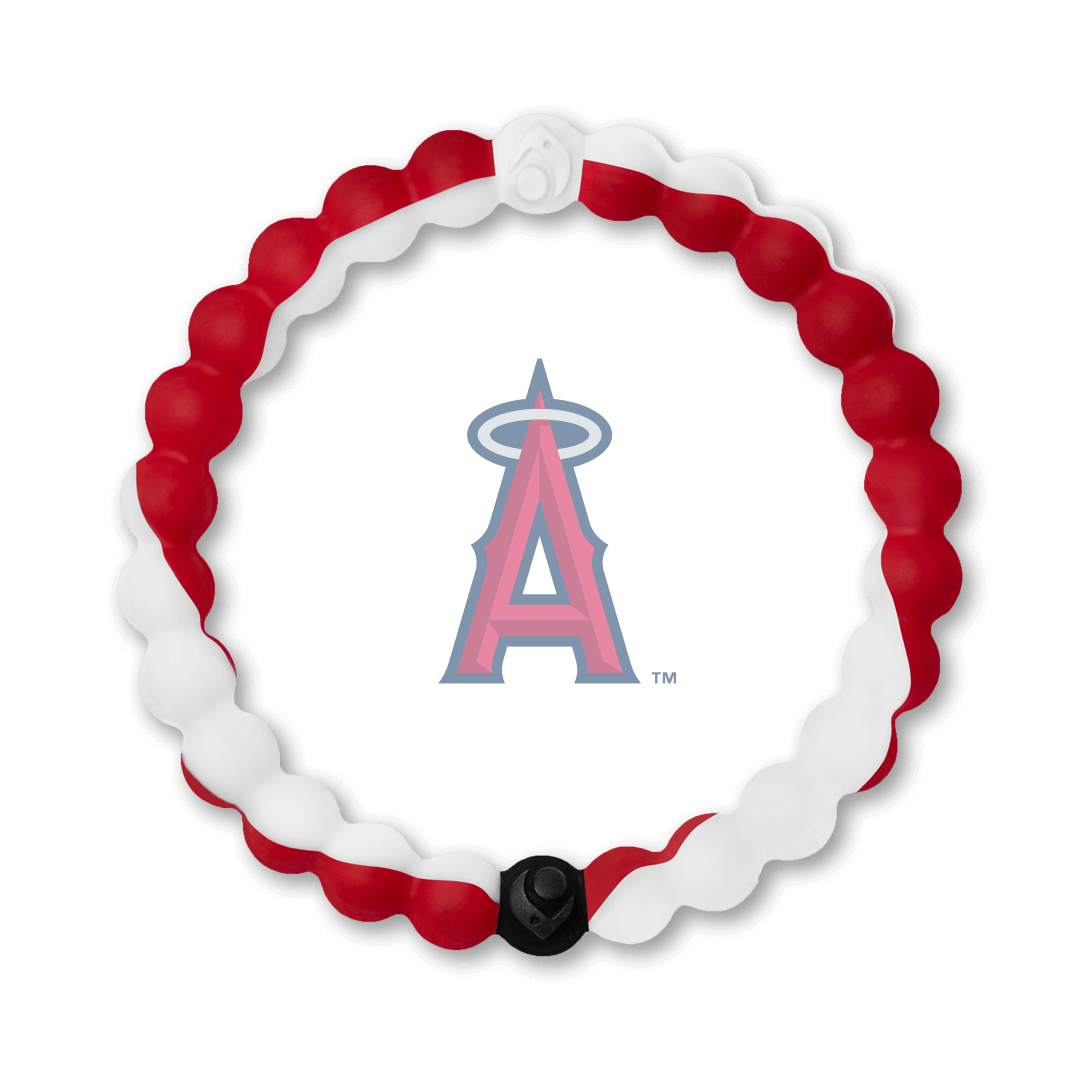 Red and white swirl silicone beaded bracelet with Angels team logo in the center.