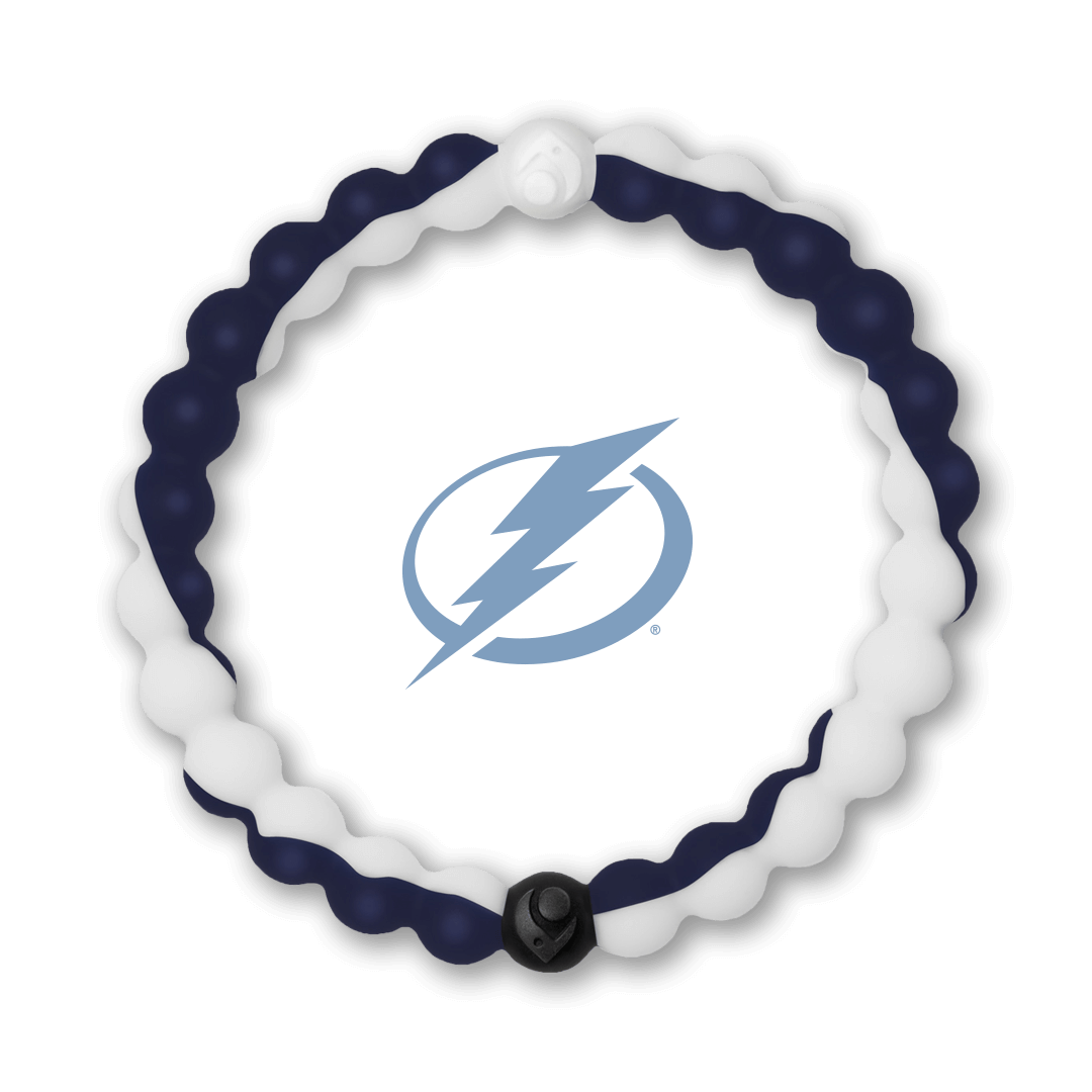 Navy and white silicone beaded bracelet with Tampa Bay Lightning team logo in the center.
