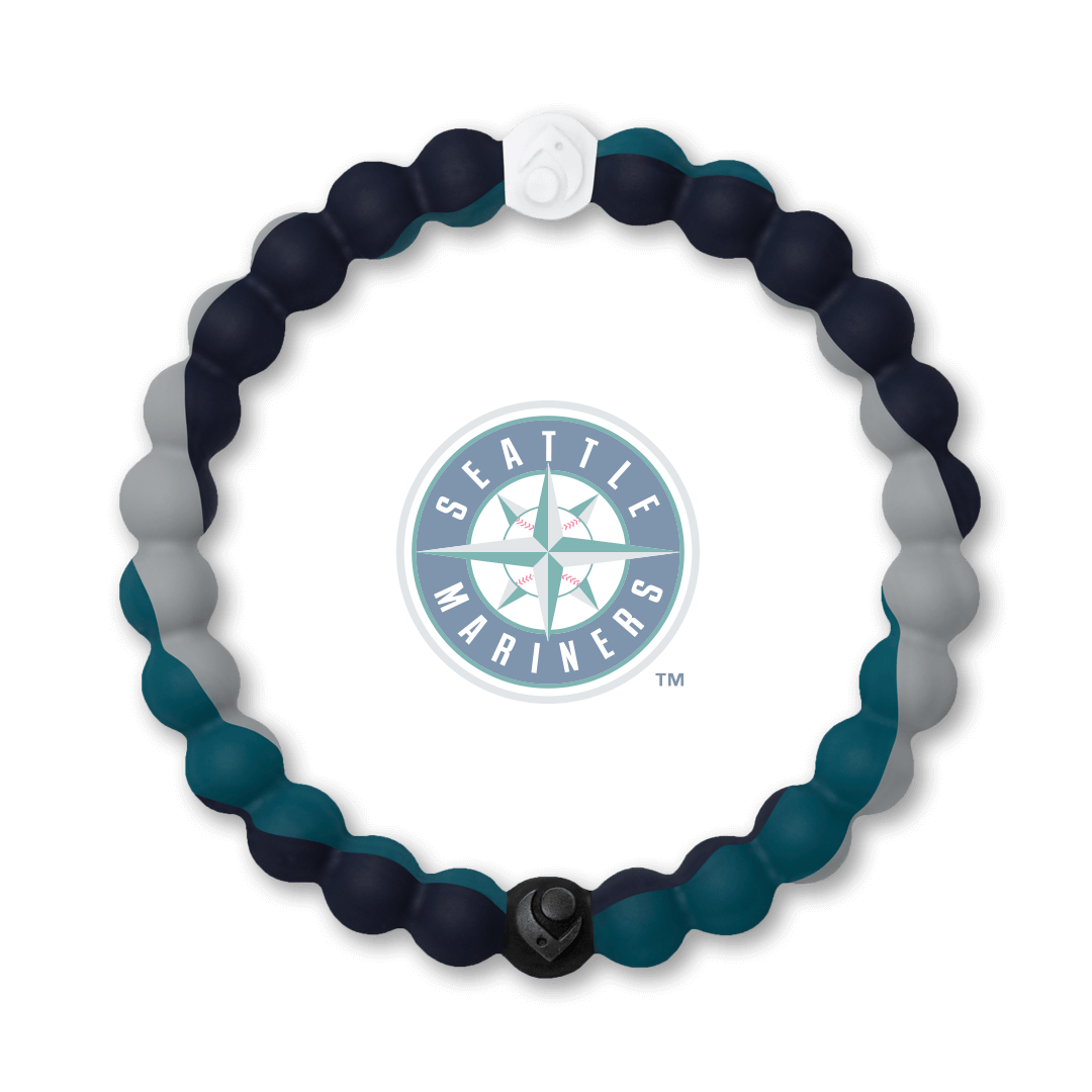 Black, teal and gray silicone beaded bracelet with Seattle Mariners team logo in the center.