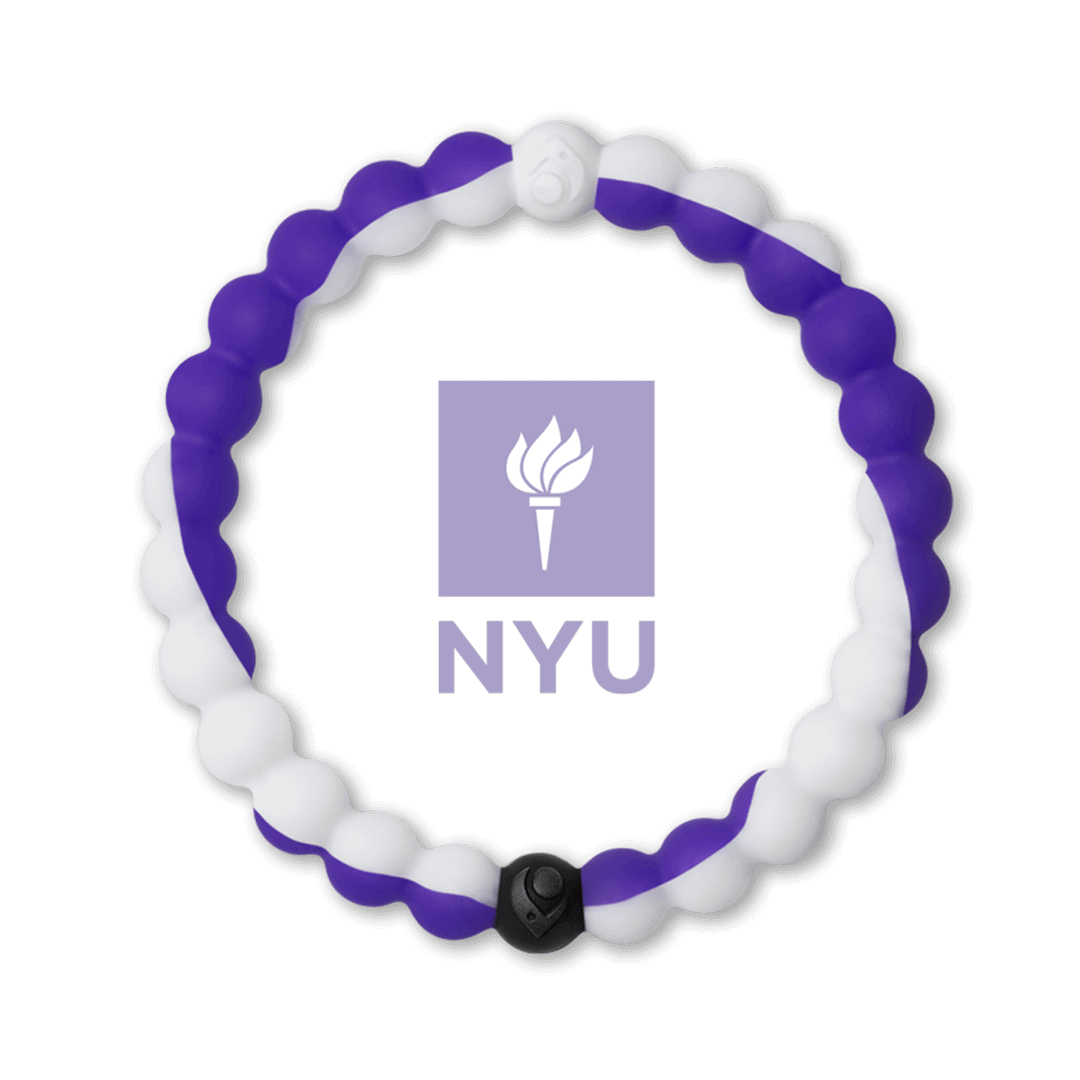 Purple and white silicone beaded bracelet with the New York University logo in the center.