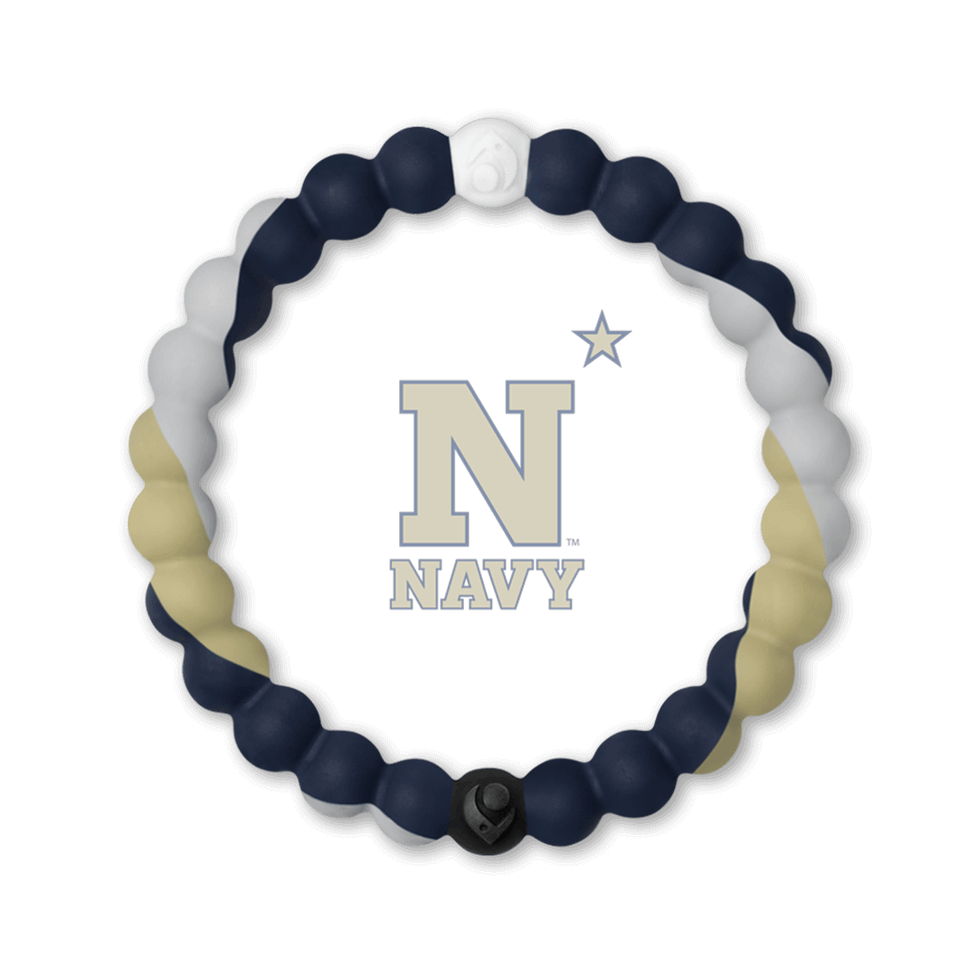 Gray, beige and navy blue silicone beaded bracelet with the US Navy logo in the center.