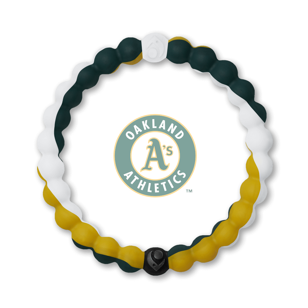 Yellow, green and white silicone beaded bracelet with Oakland Athletics team logo in the center.