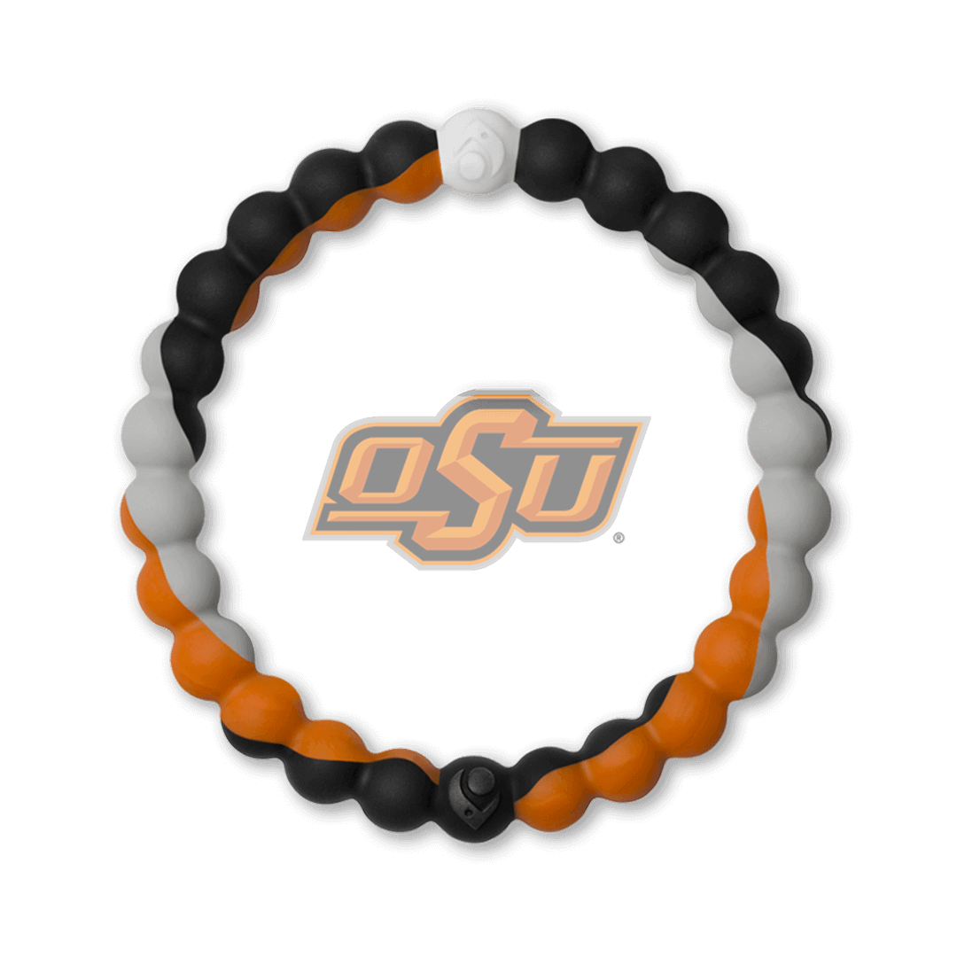 Orange, black and gray silicone beaded bracelet with the Oklahoma State University logo in the center.