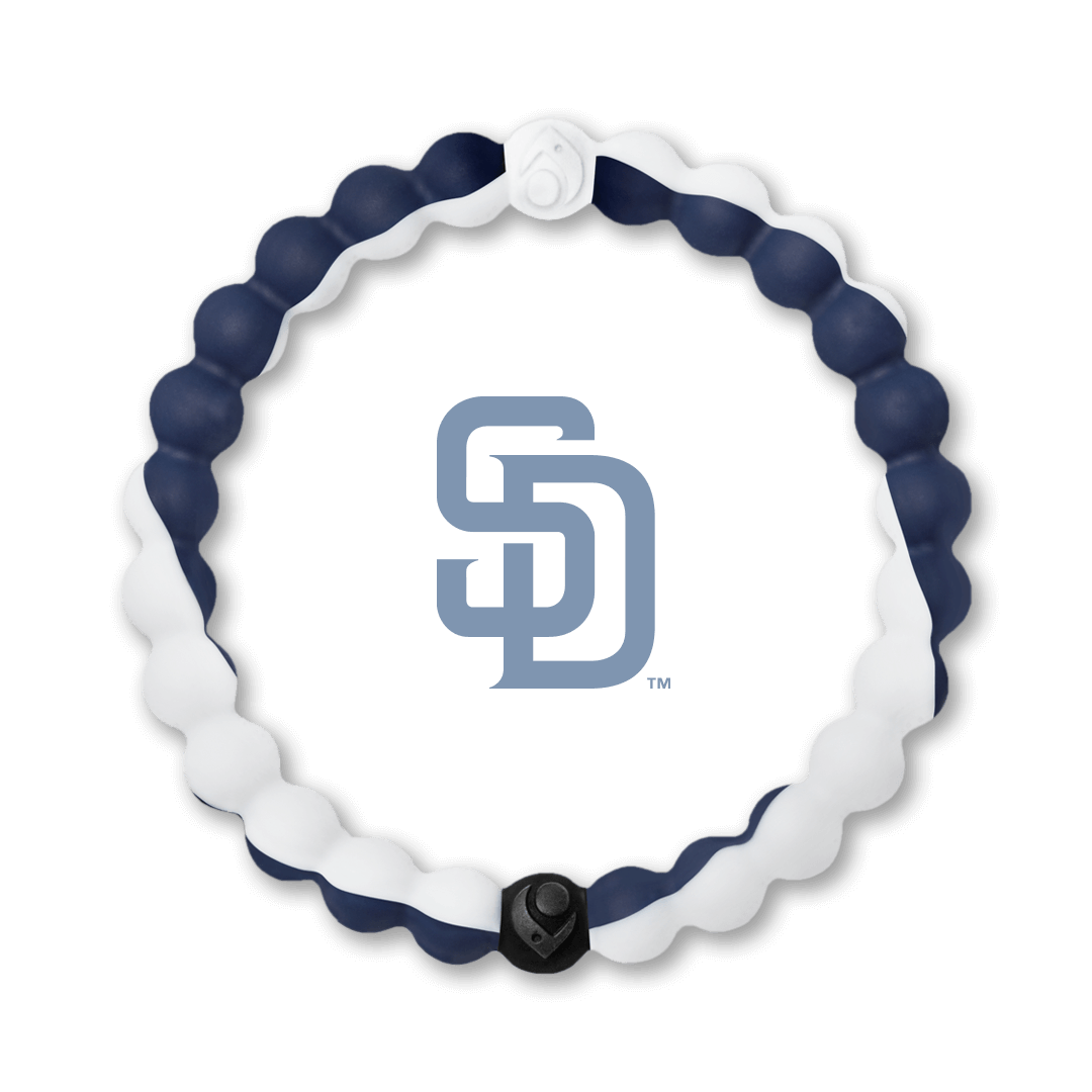 Navy blue and white silicone beaded bracelet with San Diego Padres team logo in the center.