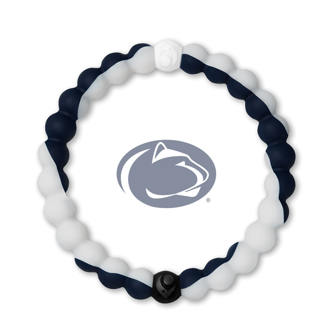 White and navy blue silicone beaded bracelet with the Pennsylvania State University logo in the center.