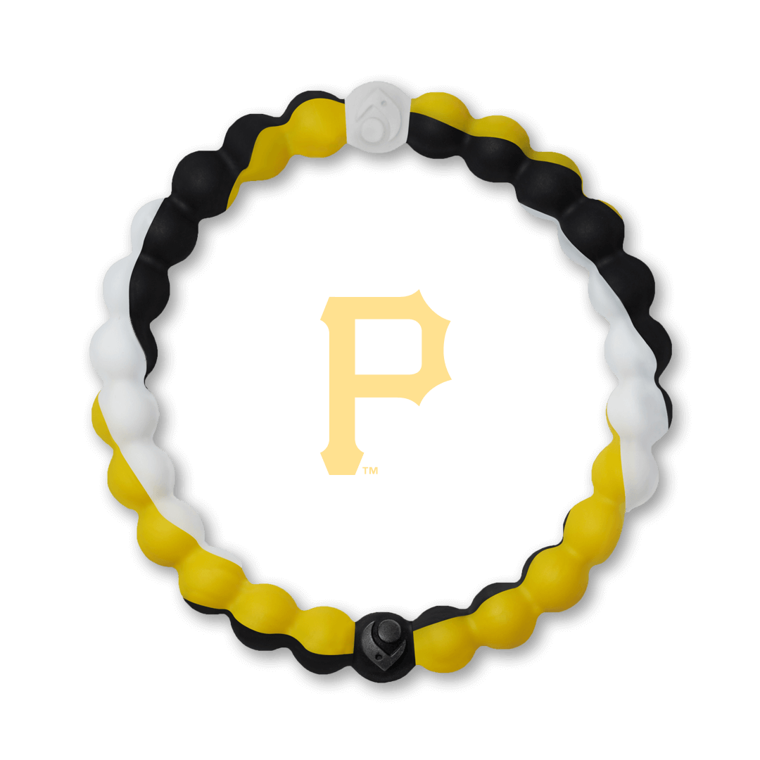Black, yellow and white silicone beaded bracelet with Pittsburg Pirates team logo in the center.