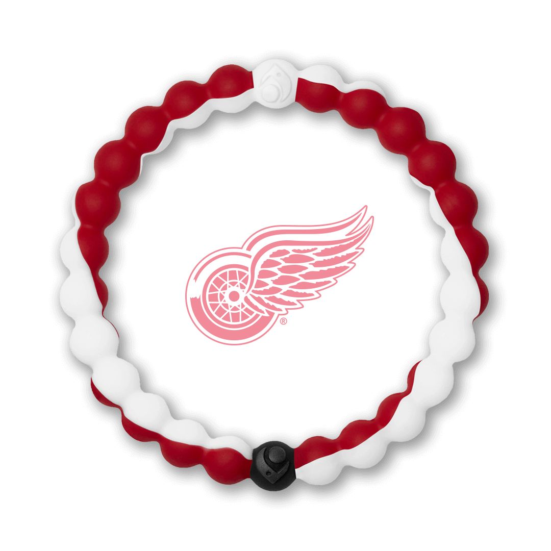 Red and white silicone beaded bracelet with Detroit Red Wings team logo in the center.