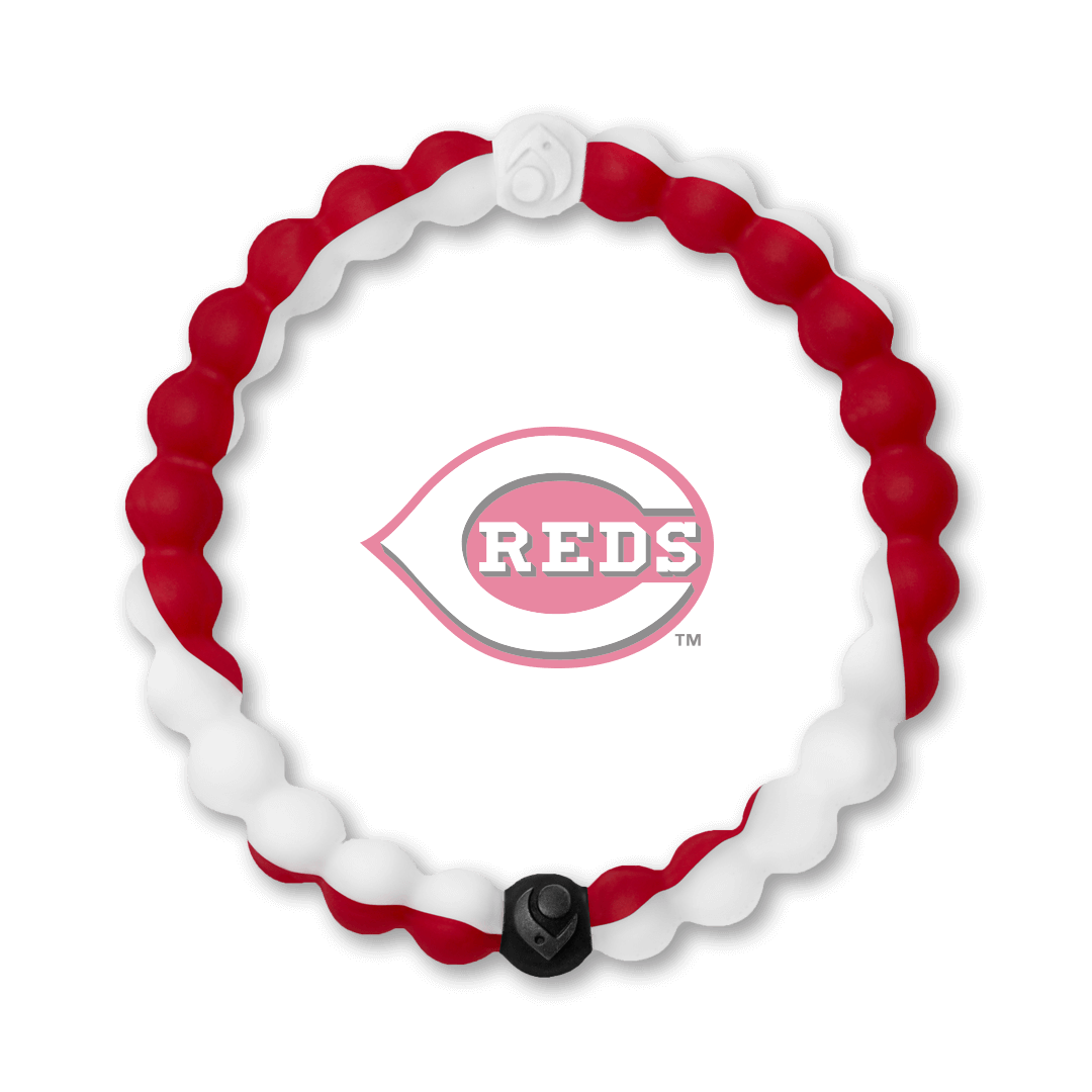 Red and white silicone beaded bracelet with Cincinnati Reds team logo in the center.