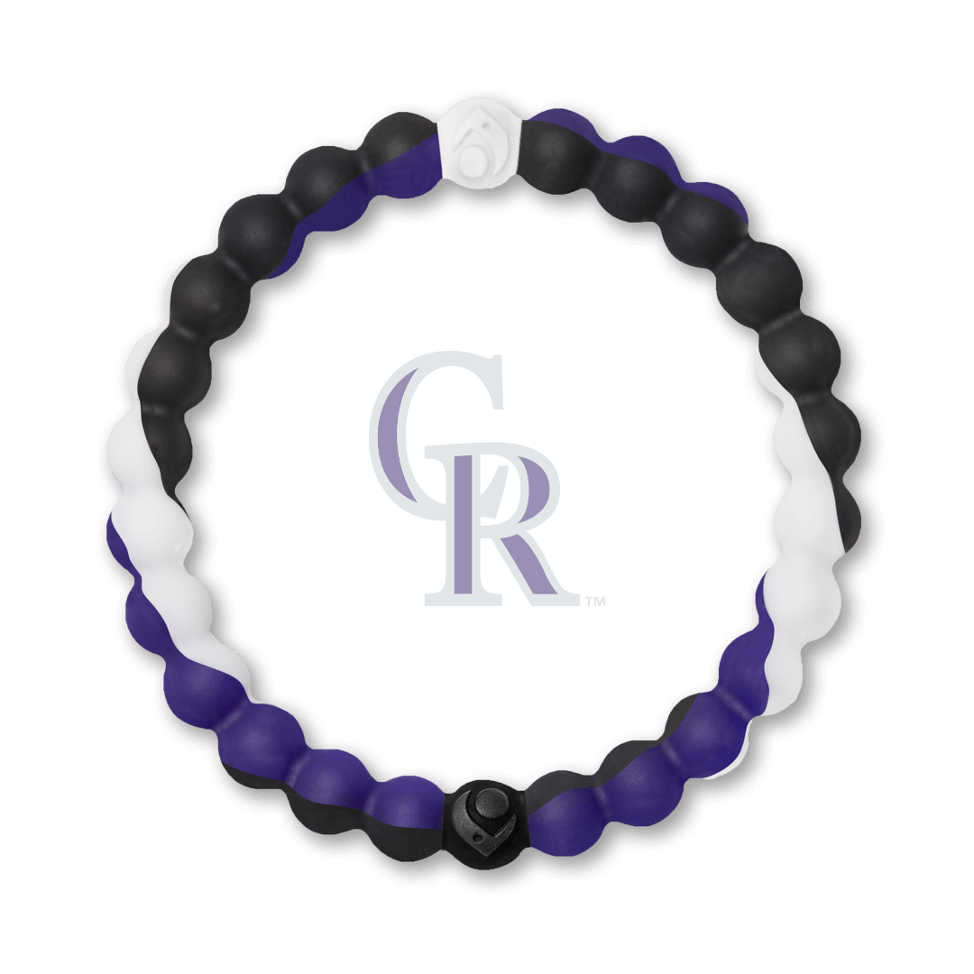 Black, white and purple silicone beaded bracelet with Colorado Rockies team logo in the center.