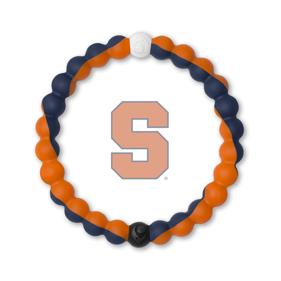 Orange and navy blue silicone beaded bracelet with the Syracuse University logo in the center.