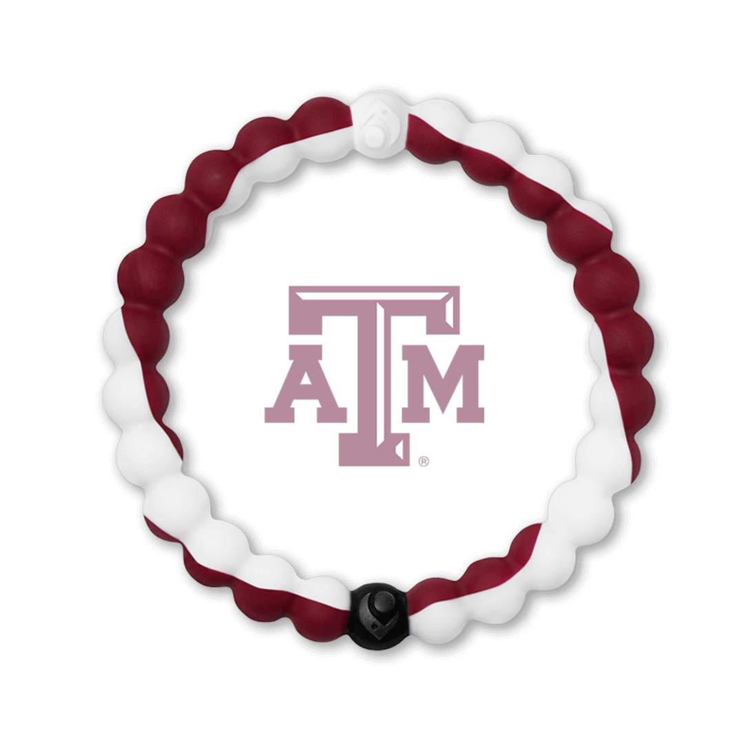 Red and white silicone beaded bracelet with the Texas A & M University logo in the center.