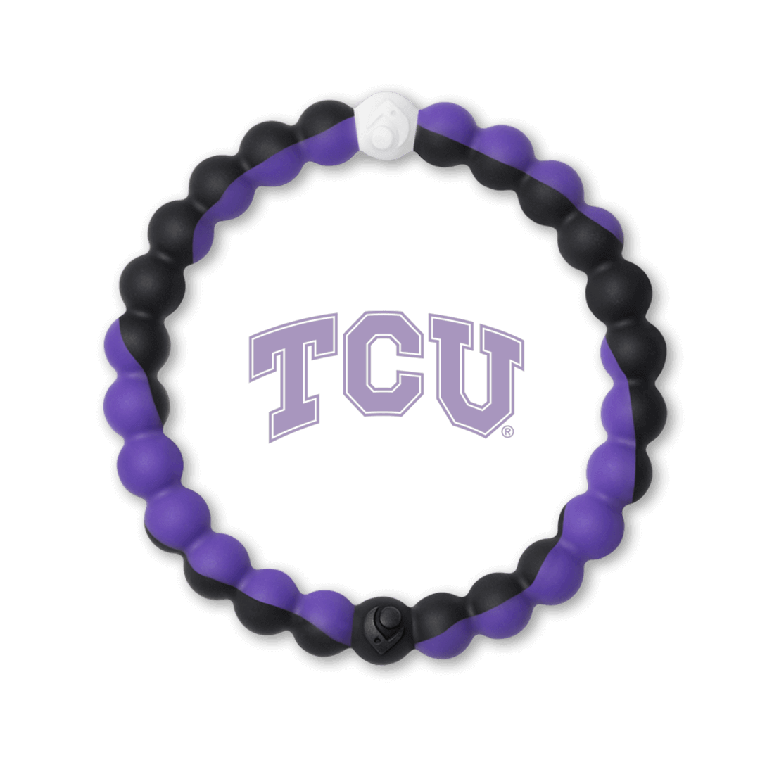 Purple and black silicone beaded bracelet with the Texas Christian University logo in the center.