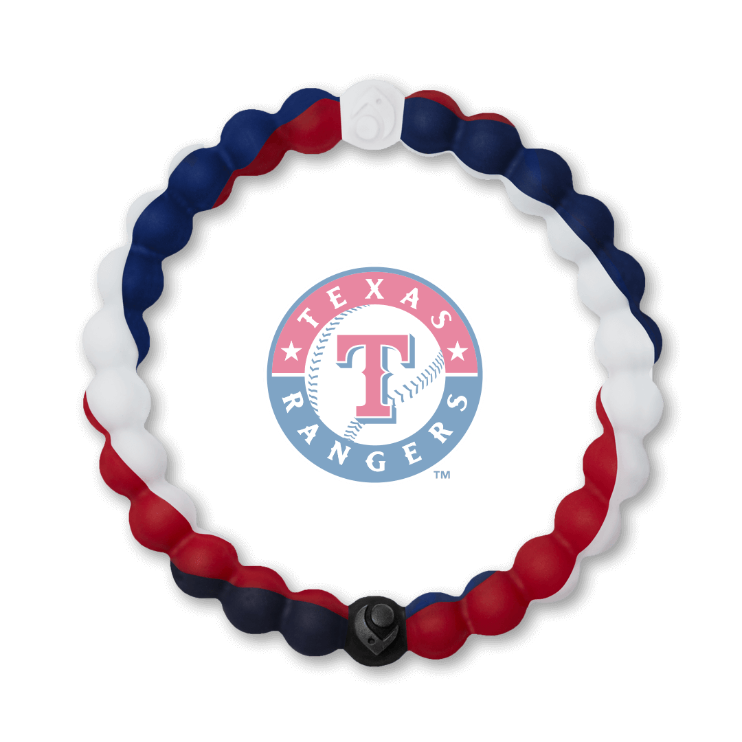 Red, white and navy blue silicone beaded bracelet with Texas Rangers team logo in the center.