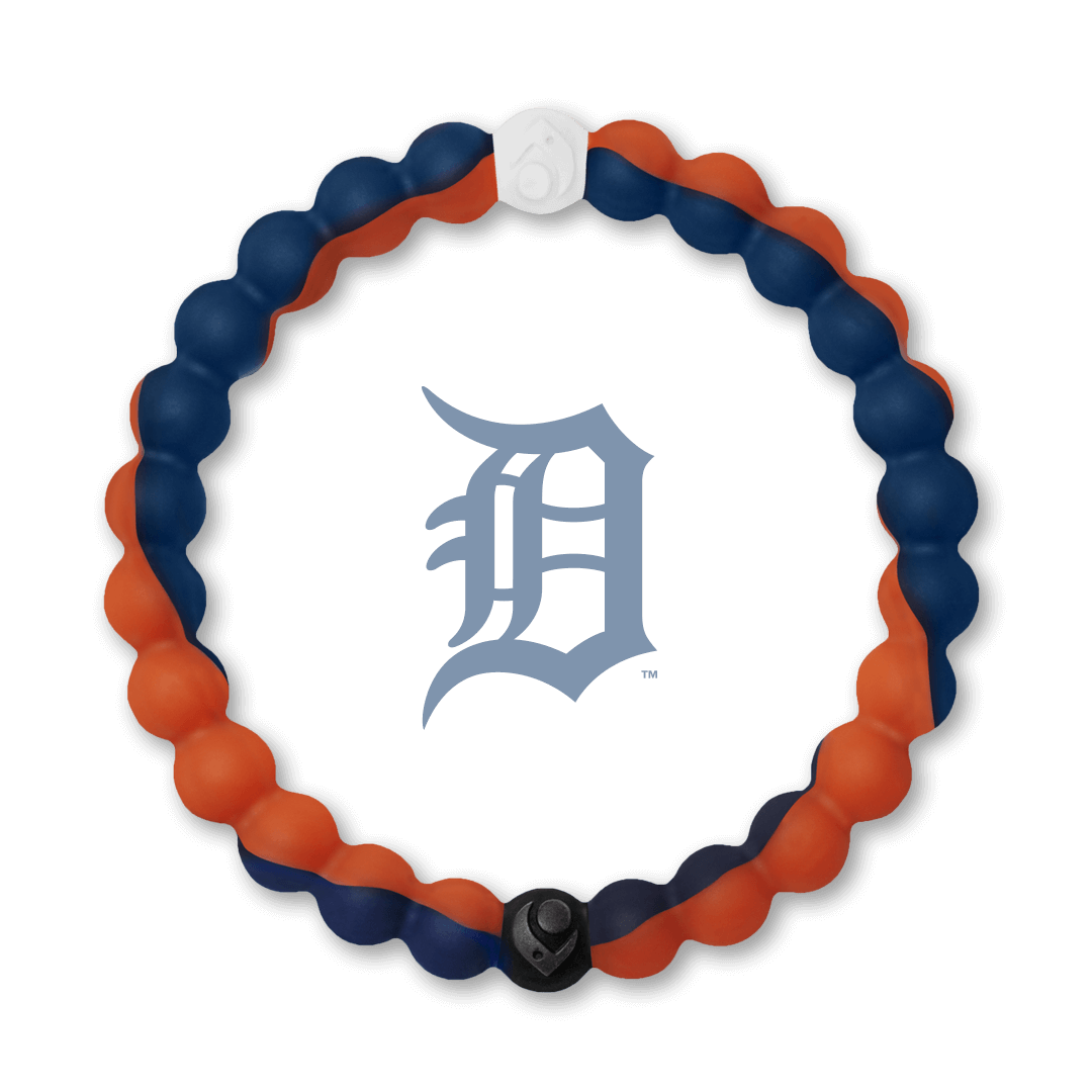 Orange and navy blue silicone beaded bracelet with Detroit Tigers team logo in the center.