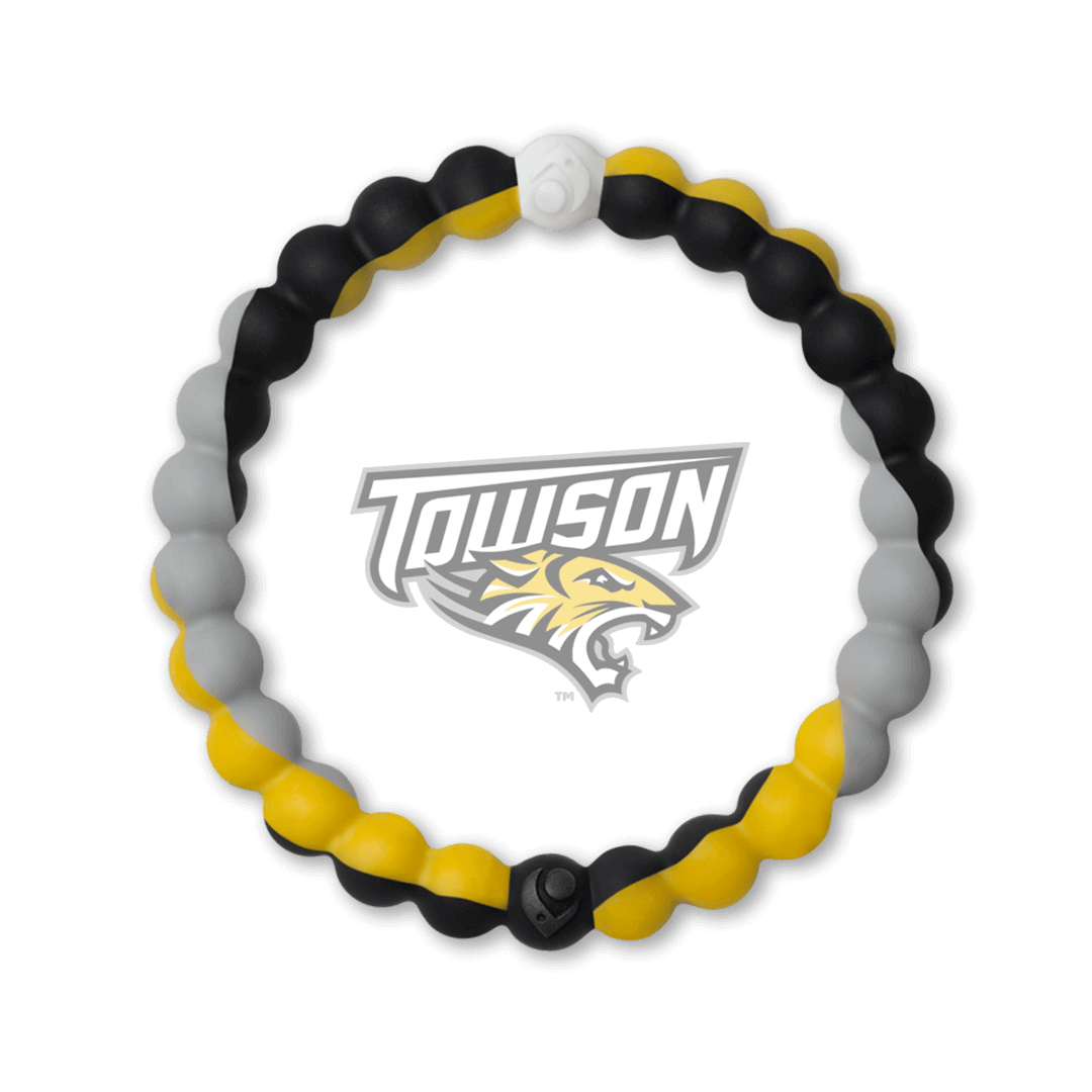 Yellow, gray and black silicone beaded bracelet with the Townson University logo in the center.