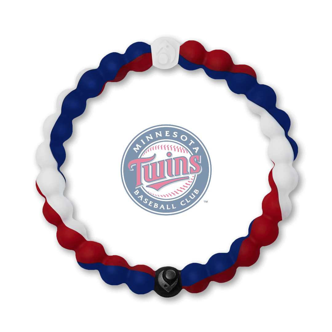 Red, white and navy blue silicone beaded bracelet with Minnesota Twins team logo in the center.