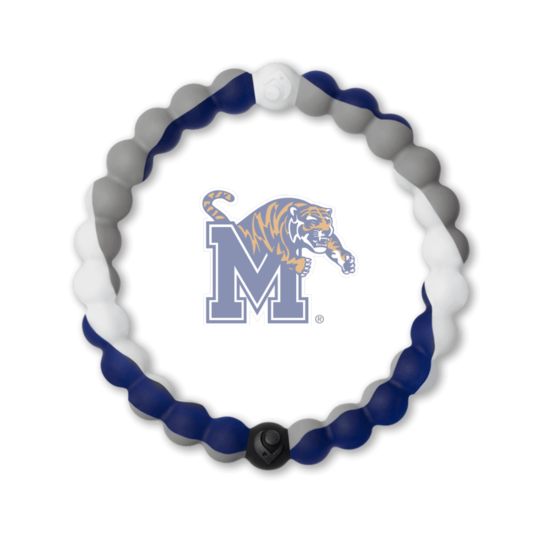 Grey, white and navy blue silicone beaded bracelet with the University of Memphis logo in the center.