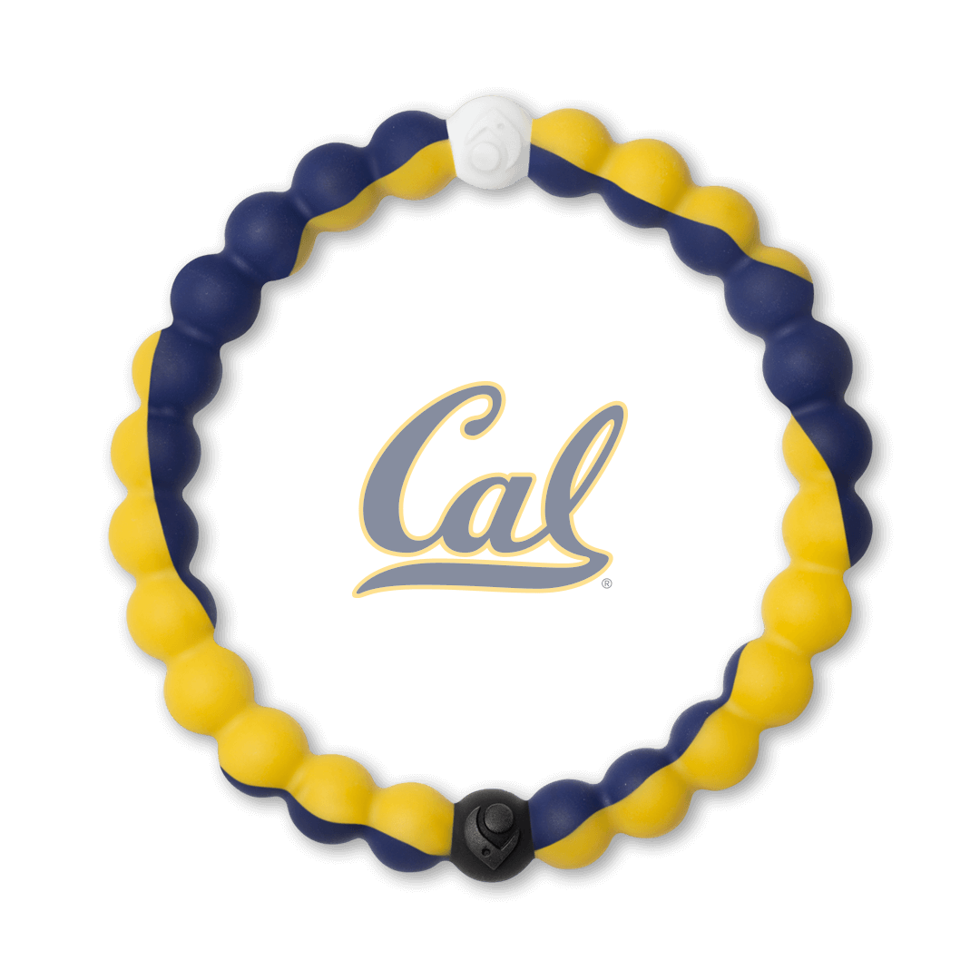 Yellow and navy blue silicone beaded bracelet with the University of California Berkeley logo in the center.