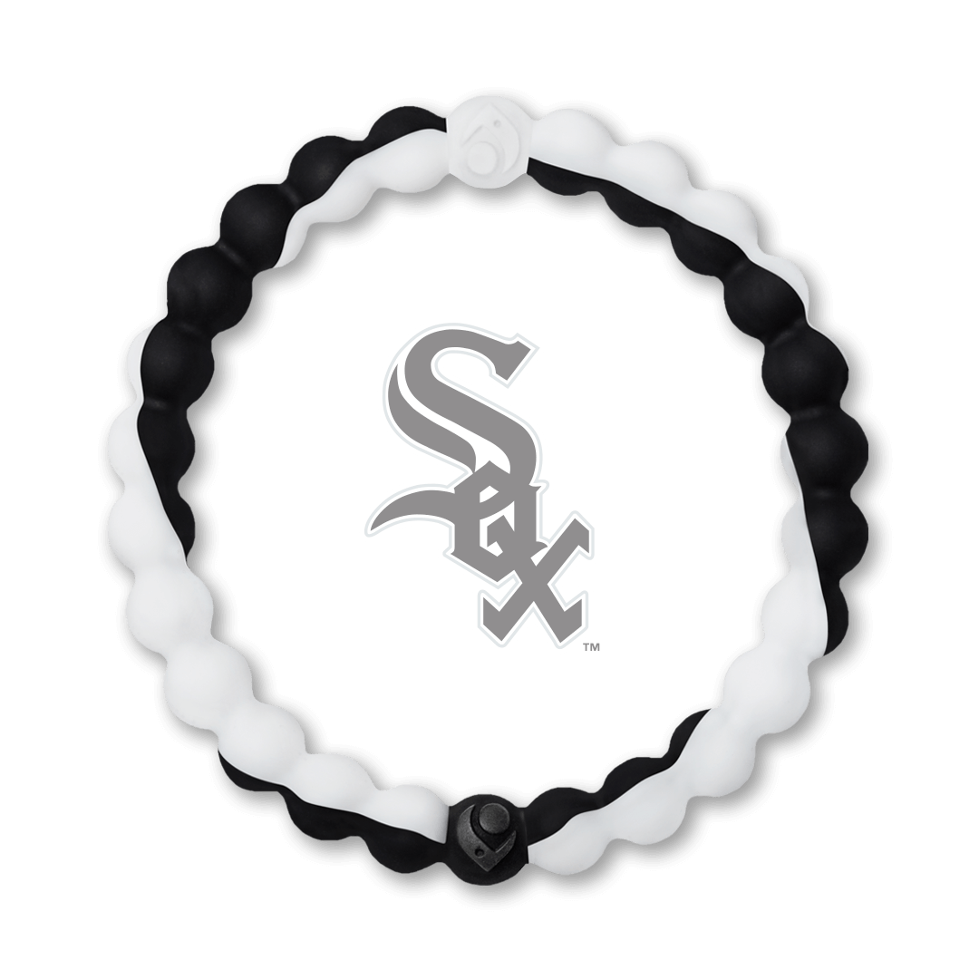 Black and white silicone beaded bracelet with Chicago White Sox team logo in the center.