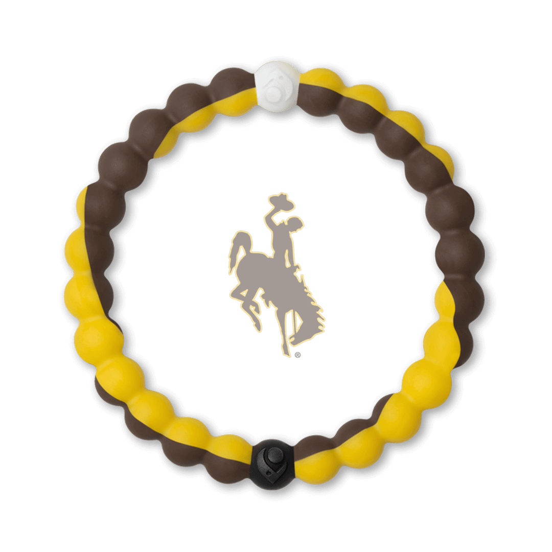 Brown and gold silicone beaded bracelet with the University of Wyoming logo in the center.