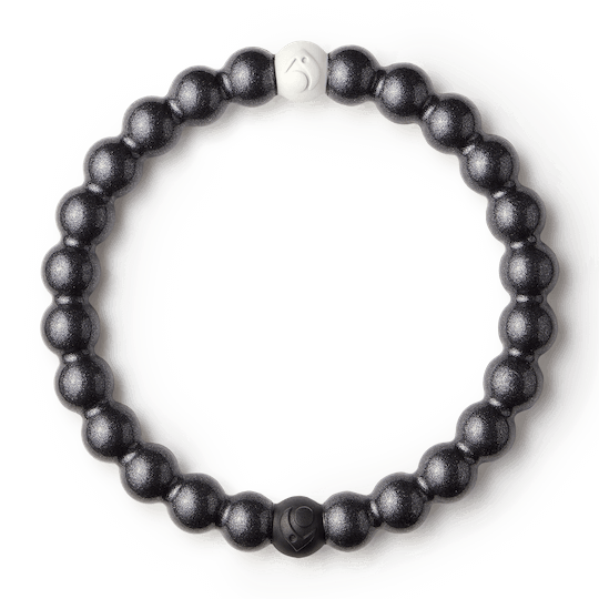 Gunmetal metallic silicone beaded bracelet.