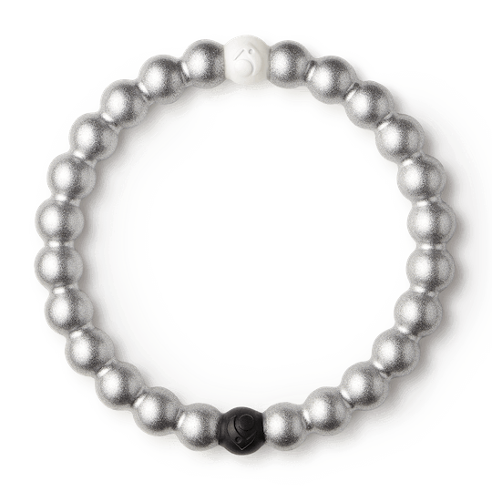 Silver metallic silicone beaded bracelet.