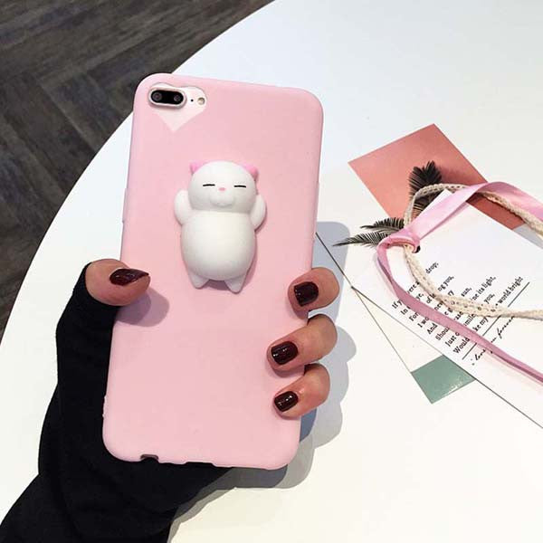Pink 3D Squishy Cat Case
