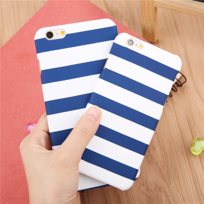 Seaside Nautical Blue and White Striped Phone Case