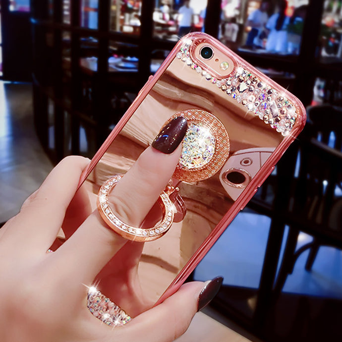 Luxury Plating Diamond Mirror Soft Case with Crystal Finger Ring