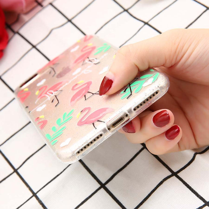 Transparent Flamingo Phone Case