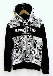 THUG LIFE Men`s Knit Hoody Black/White