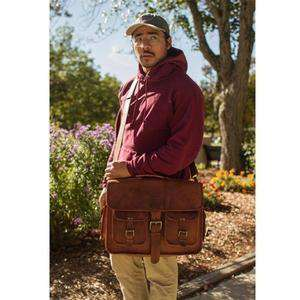 Leather Carryall Bulletproof Briefcase-Bullet Blocker-over the shoulder-kincorner.com