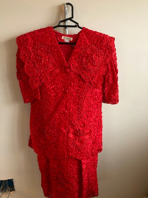 2-Piece Short Sleeve Women's Red Blouse and Skirt Dress/Suit - After Shopper