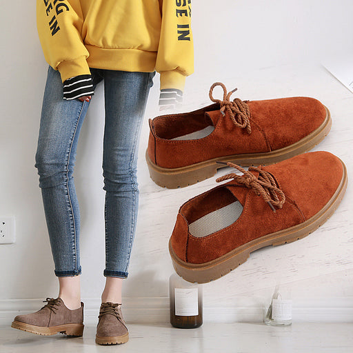 2018 Autumn New Women's Shoes Flat Martin Boots Casual Shoes Woman Oxford Fashion Sneakers Retro Elegant Lace-up Non-slip - After Shopper