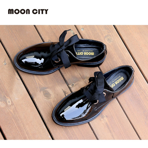 2019 Fashion Spring & Autumn Oxford flats woman loafers shoes femme New Patent Leather shoes woman Casual Riband Women's Flats - After Shopper