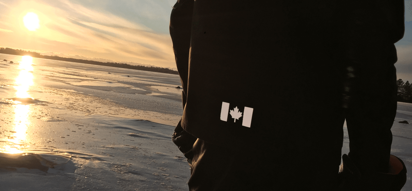 High visibility reflective iron-on decals. Made with 3M™ Scotchlite™ Reflective Material. Feel safer, hiking, walking, running. Create your own reflective outfit, apparel, activewear. Customizable, easy to apply, do it yourself. Noktillu Canadian Flag design.